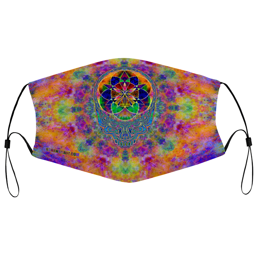 Stealie Tie-Die Face Mask w/ 2 Filters