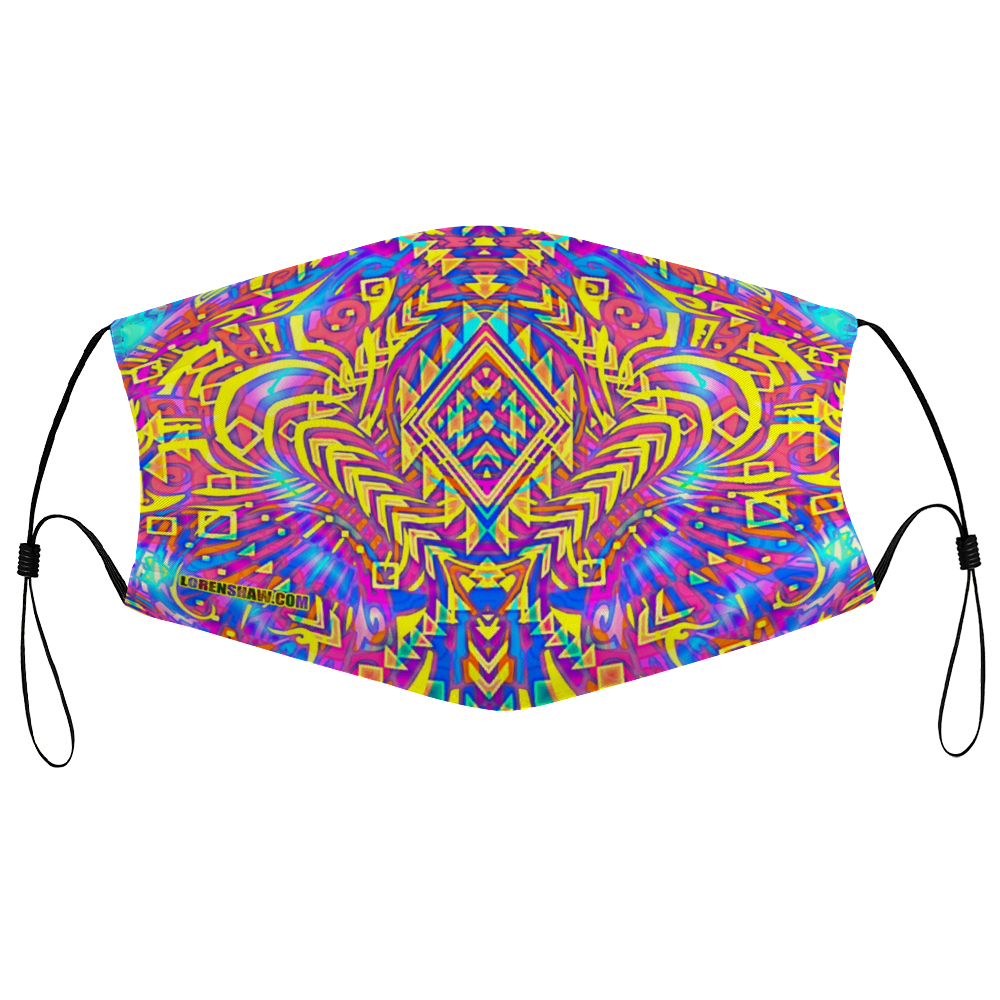 Aztek Psychedelic Face Mask w/ 2 Filters