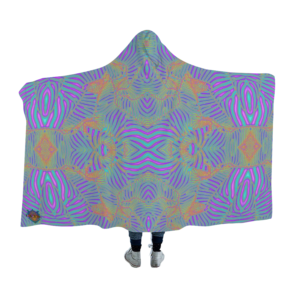 Tie-Die Zebra Hooded Blanket Cloak