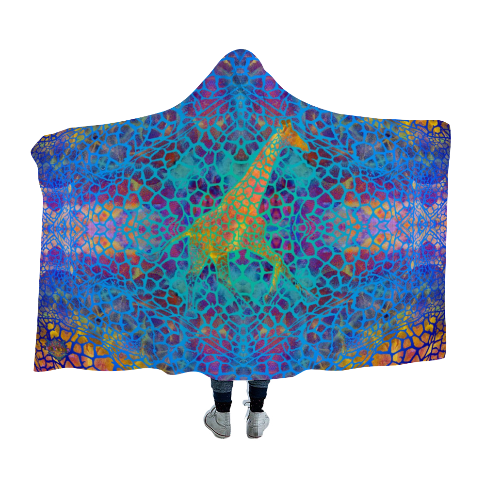 Giraffe Vibes Hooded Blanket Cloak