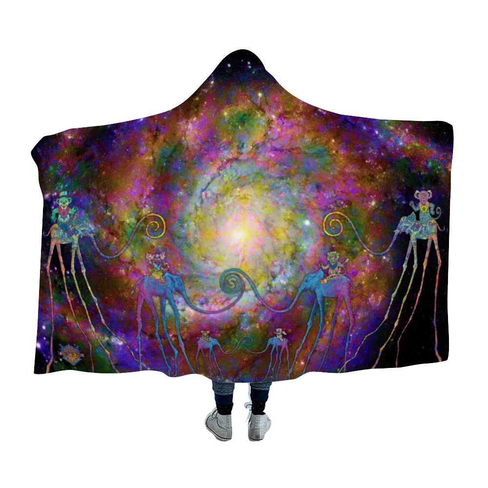 Dancing Dali Bears Hooded Blanket Cloak