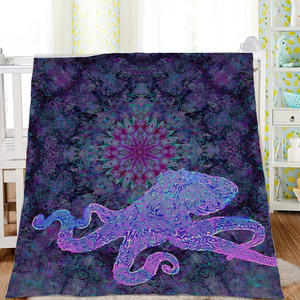Purple Octopus Sherpa Blanket