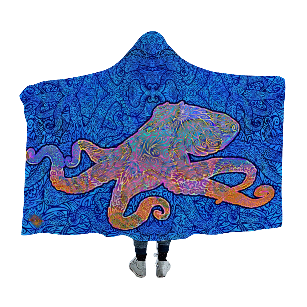 Grooving Octopus Hooded Blanket Cloak