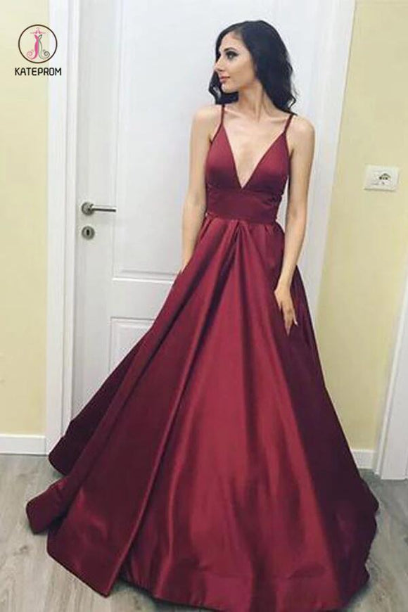 Simple V-Neck Floor-Length Satin Burgundy Prom Dress with Pockets KPP0004