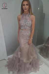 Two Piece Sleeveless Prom Dress with Beading, Floor Length Tulle Evening Dress KPP0005