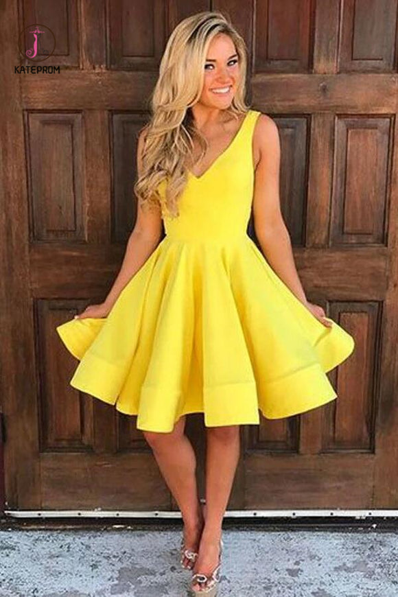 A-line Yellow Satin Short Prom Dress Homecoming Dress Short Prom Dresses KPH0001
