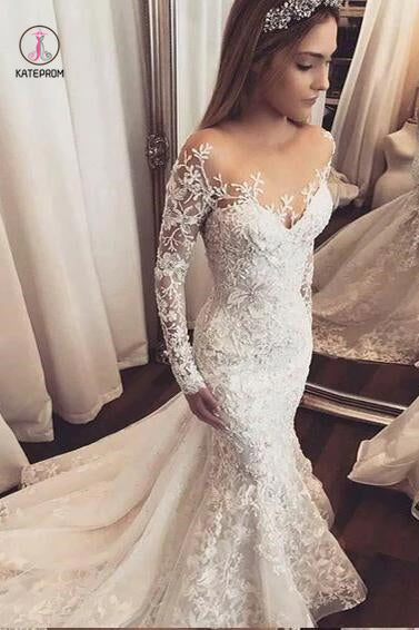 Luxury Wedding Dresses Trumpet/Mermaid Long Sleeve Sexy Bridal Gown KPW0003
