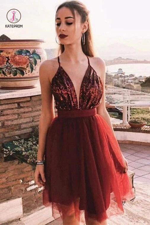 Burgundy Deep V Neck Tulle Homecoming Dress with Sequins, A Line Graduation Dress KPH0002