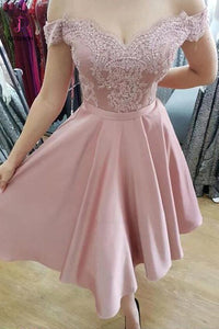 A Line Off the Shoulder Knee Length Homecoming Dresses with Appliques KPH0003
