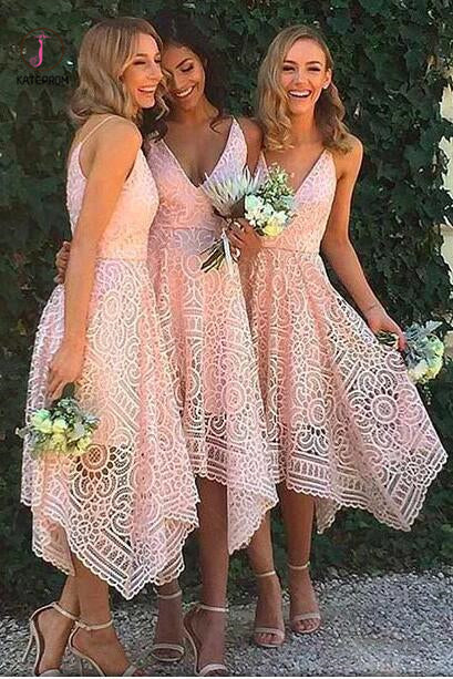 Pink V-neck Straps Tea Length Asymmetrical Lace Bridesmaid Dress,Midi Homecoming Dress KPB0004
