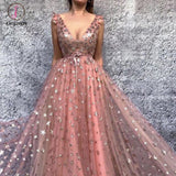 Sparkly Prom Dresses V-neck Stars Long Sexy Beautiful Prom Dress KPP0001