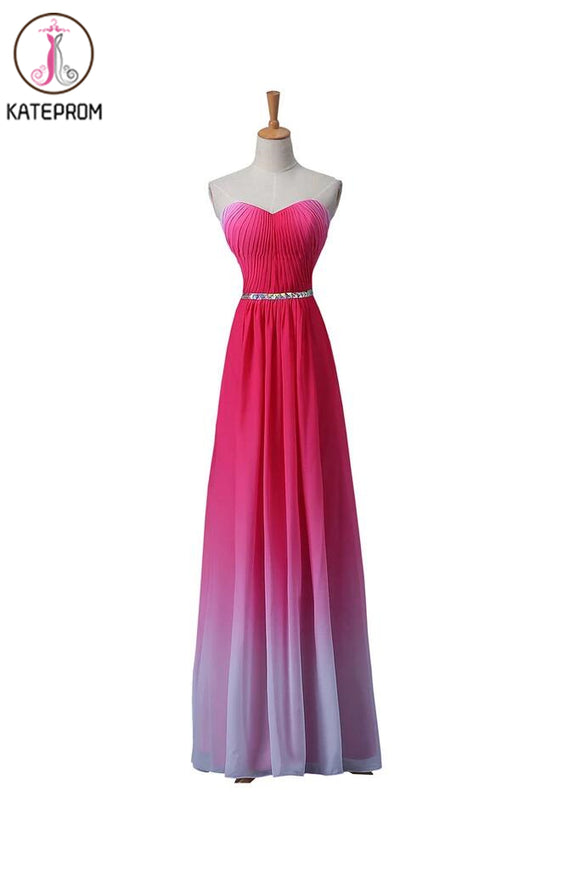 Gradient Ombre Chiffon Long Beaded Prom\Evening Dresses KPP0007
