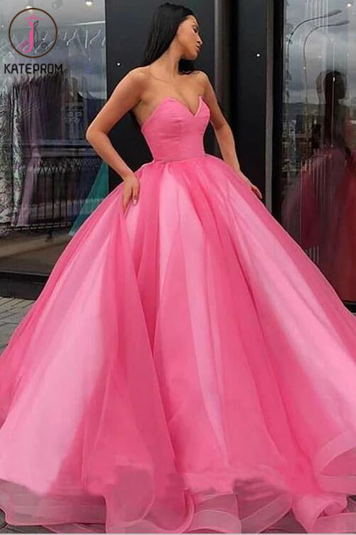 Ball Gown Sweetheart Prom Dress, Princess Floor Length Tulle Quinceanera Dresses KPP0006
