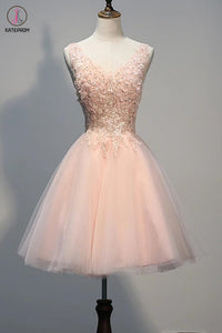Blush Pink Lace Beaded Backless V-neck Homecoming Dresses KPH0019