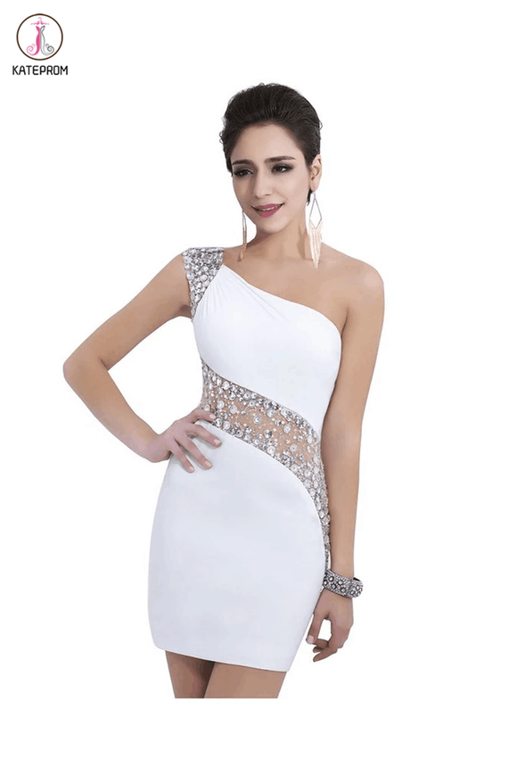 Sheath One Shoulder White Beaded Short Homecoming Dresses KPH0017