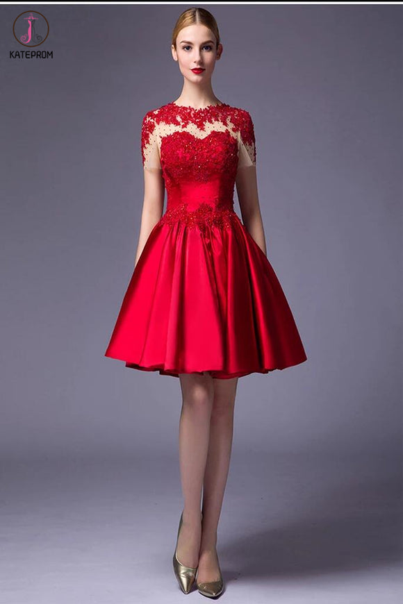 Cap Sleeves Beaded Red Lace Homecoming Cocktail Dresses KPH0016