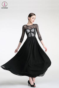Long Sleeves Black Lace Cap Sleeves Prom Party Dresses KPH0014