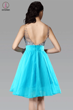 Short V-Neck Chiffon Backless Homecoming Dresses Prom KPH0013