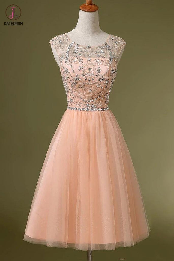 Blush Pink Backless Tulle Short Prom\Homecoming Dresses KPH0007
