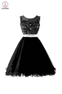 Black Beaded Cap Sleeves Lace Homecoming Cocktail Dresses KPH0030