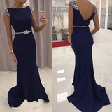 Navy Blue Sequined Fitted Cap Sleeve Prom Gown,Mermaid Prom Dress,Formal Gown KPP0188