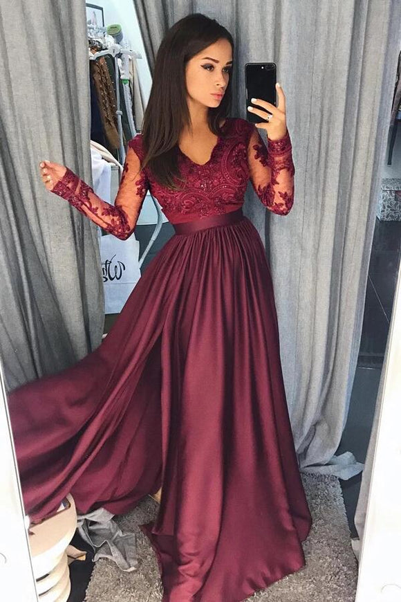 Burgundy Satin Long Sleeves A-line Long Prom Dresses Evening Dresses KPP0316