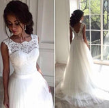White Sleeveless Wedding Dresses, Sexy Bridal Gowns with Appliques KPW0131