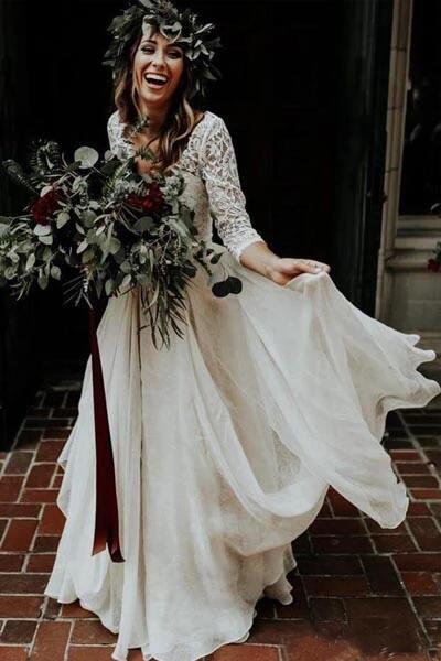 White Chiffon Cheap Two Piece 3/4 Sleeve Wedding Dresses | Bridal Gowns KPW0133
