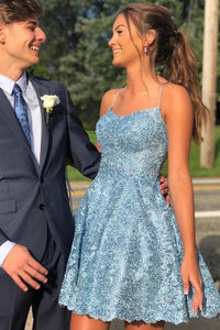 Charming Sky Blue A-line Lace Spaghetti Straps Homecoming Dresses, Short Prom Dress KPH0123