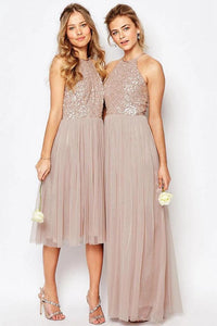 Gorgeous Glittering Top Tulle Halter Romantic Short Long Wedding Party Bridesmaid Dresses KPB0195