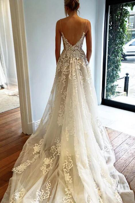 Deep V neck Wedding Dress,Lace Wedding Dress,Spaghetti Straps Beach Wedding Dress KPW0135