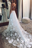 A Line White Straps Long Split V Neck Lace Beach Wedding Dress, Lace Bridal Dress KPW0136
