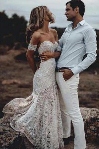 Mermaid Lace Sweetheart Elegant Bridal Long Wedding Dresses, Boho Bridal Dress KPW0137