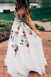 A Line V Neck Ivory Lace Prom Dresses with Flowers, Long Evening Dresses with Appliques KPP0319