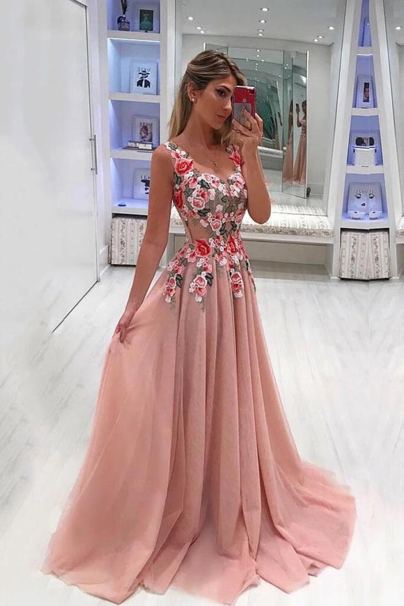 A Line Straps Appliqued Prom Dress, Cheap Sweep Train Tulle Evening Dresses KPP0322