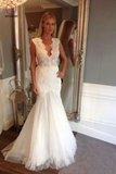 Ivory V Neck Sleeveless Mermaid Wedding Dress, Long Tulle Bridal Dress with Appliques KPW0212