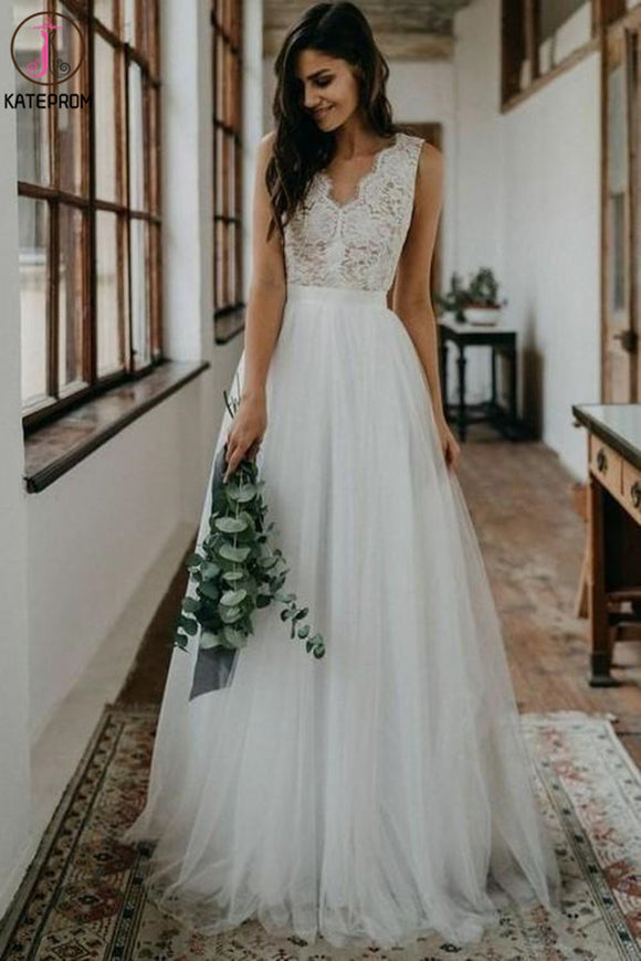 Kateprom Simple White Tulle Lace A line V neck Open Back Beach Wedding Dresses KPW0636