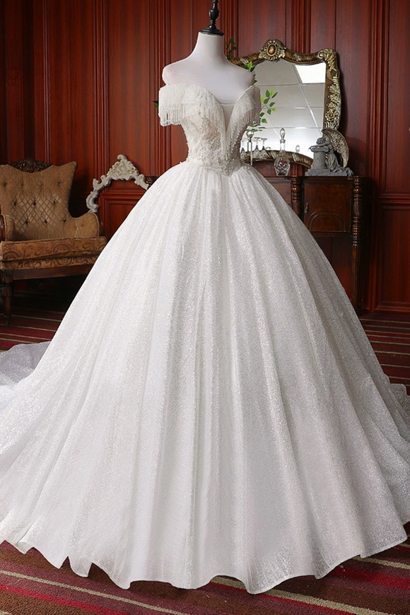 Kateprom Pretty Off The Shoulder Ball Gown Beading Wedding Dresses Modest Bridal Gown KPW0642
