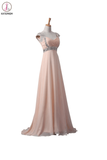 Blush Pink Chiffon Beaded Long Prom\Evening Dresses KPP0008