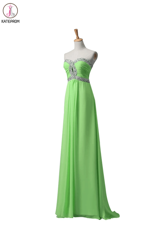 Sage Chiffon Long Beaded Empire Prom Evening Dresses KPP0009