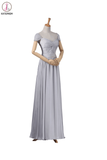 Modest Gray Chiffon Long Prom Dresses KPP0010