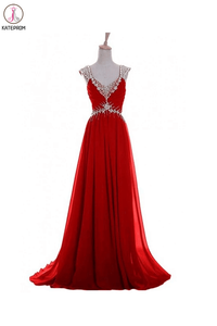 V Neck A-line Red Backless Chiffon Prom Dresses KPP0011