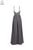 Gray Chiffon Backless Cheap Long Evening Prom Dress KPP0013