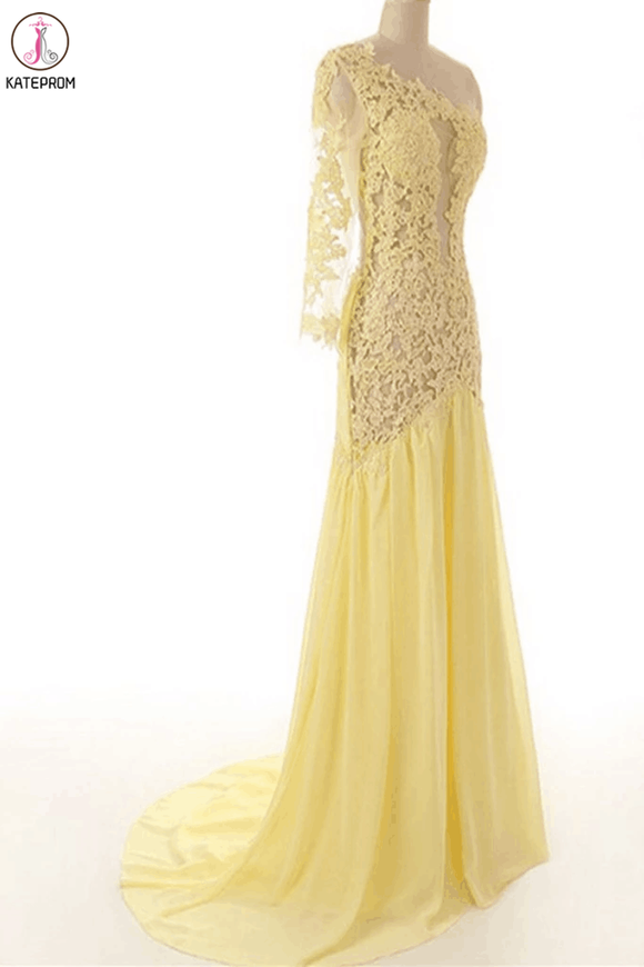 Lace Chiffon Daffodil Long Prom Dresses Evening Dresses KPP0014