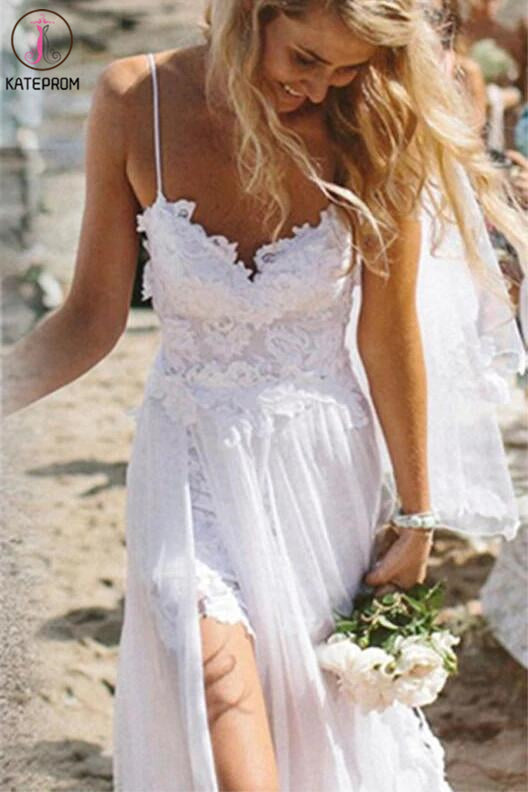 Spaghetti Straps White Lace Chiffon Backless Beach Wedding Gowns KPW0008