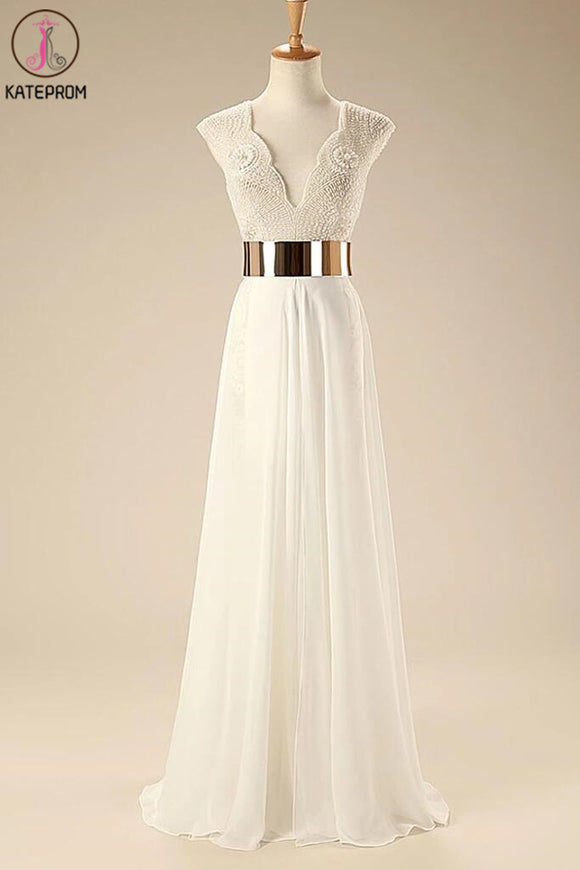 Deep V Neck Cap Sleeves White Chiffon Gold Belt Summer Beach Wedding Dress KPW0005