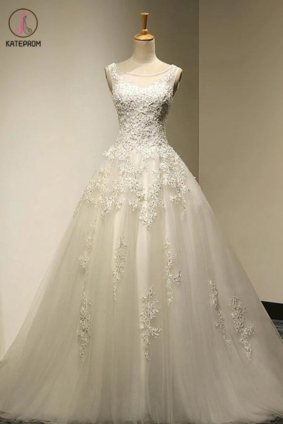 Scoop Court Train Tulle Backless Lace-up Wedding Dress with Beading,Ball Gowns Bridal Dress KPW0015