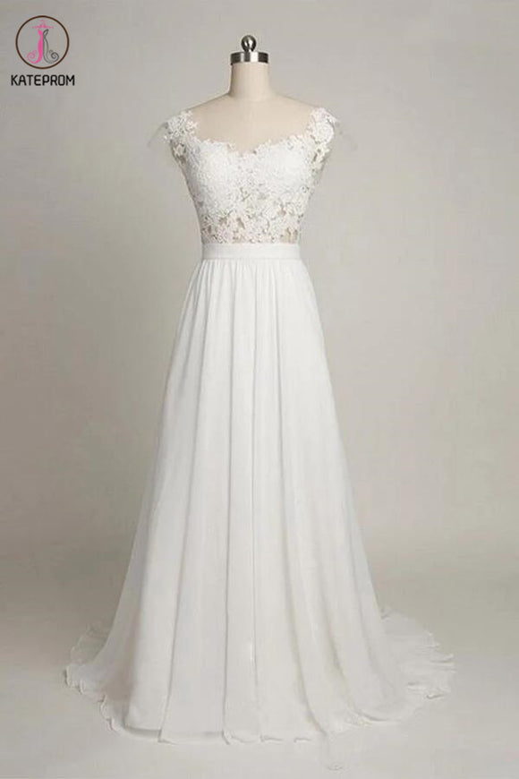 Cap Sleeves Sweetheart Long Chiffon Wedding Dress with Lace KPW0014