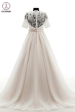 V-neck Court Train Lace Beading Wedding Dresses,Short Sleeves Prom Dress KPW0013