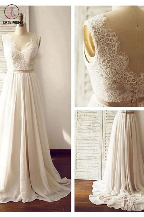 V-neck Backless Wedding Gown,Long Chiffon Bridal Dress,Sleeveless Lace Beach Wedding Dresses KPW0012